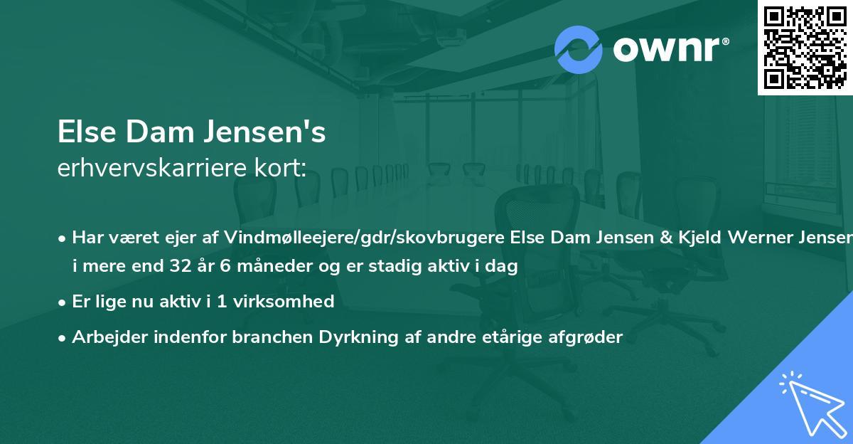 Else Dam Jensen's erhvervskarriere kort