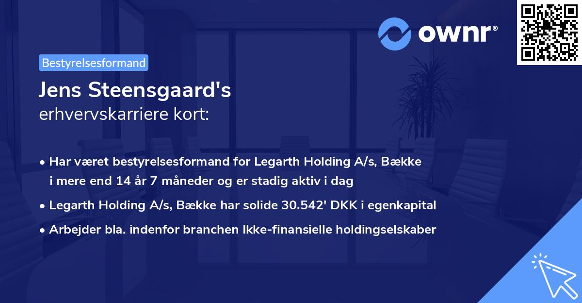Jens Steensgaard's erhvervskarriere kort