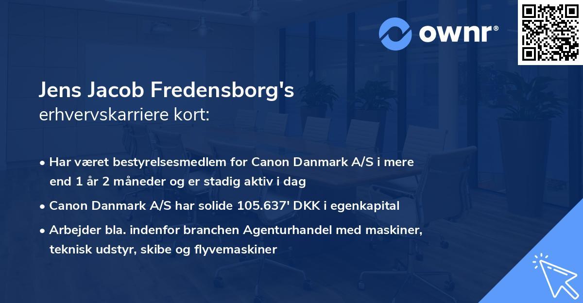 Jens Jacob Fredensborg's erhvervskarriere kort