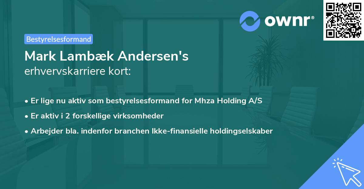 Mark Lambæk Andersen's erhvervskarriere kort