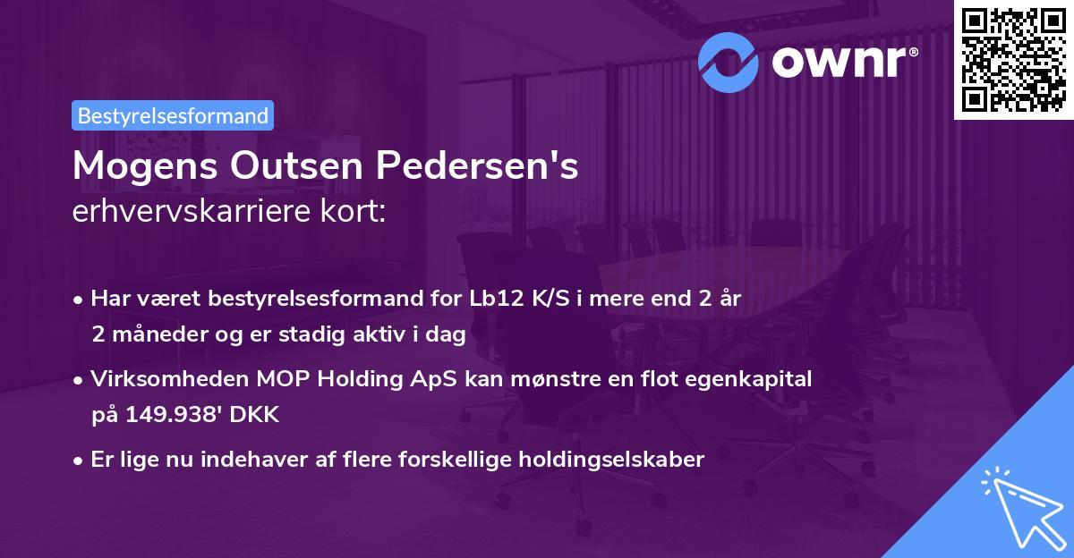 Mogens Outsen Pedersen's erhvervskarriere kort