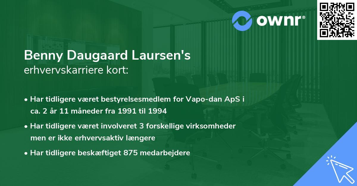 Benny Daugaard Laursen's erhvervskarriere kort