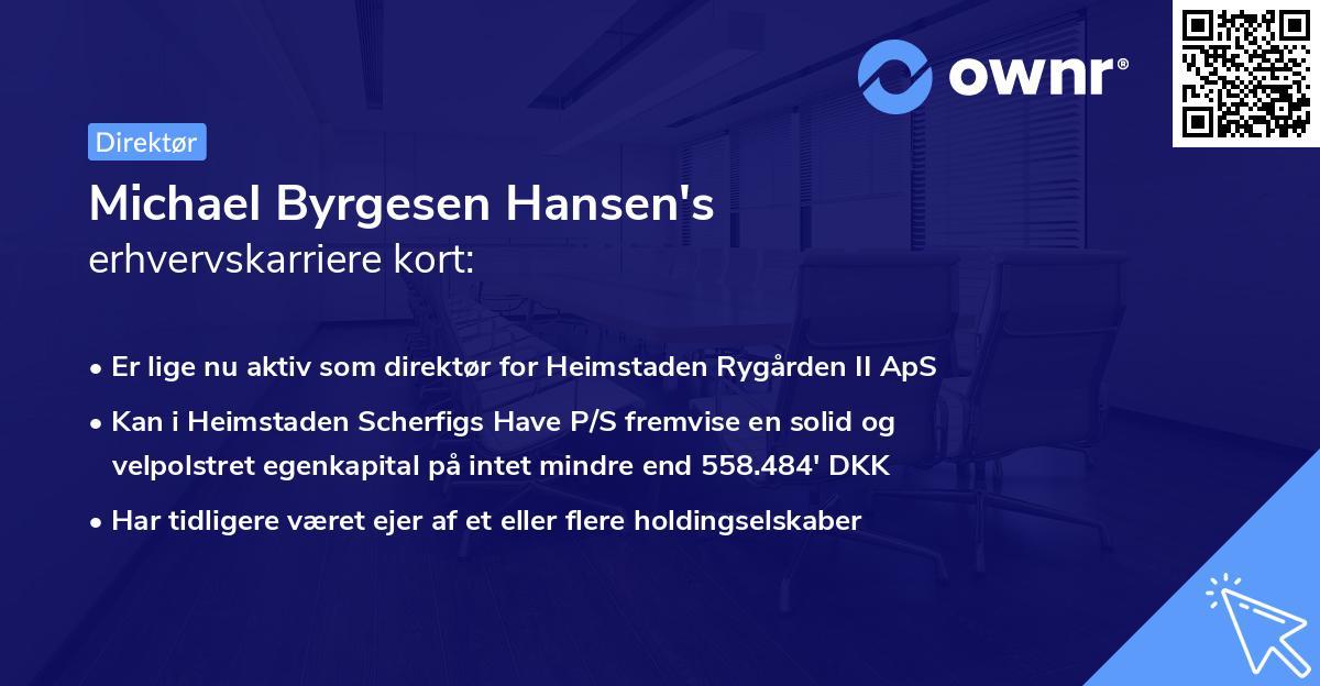 Michael Byrgesen Hansen's erhvervskarriere kort