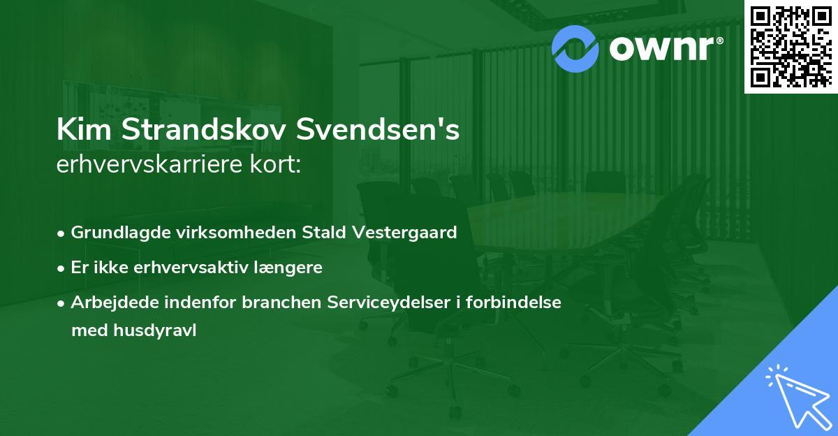 Kim Strandskov Svendsen's erhvervskarriere kort