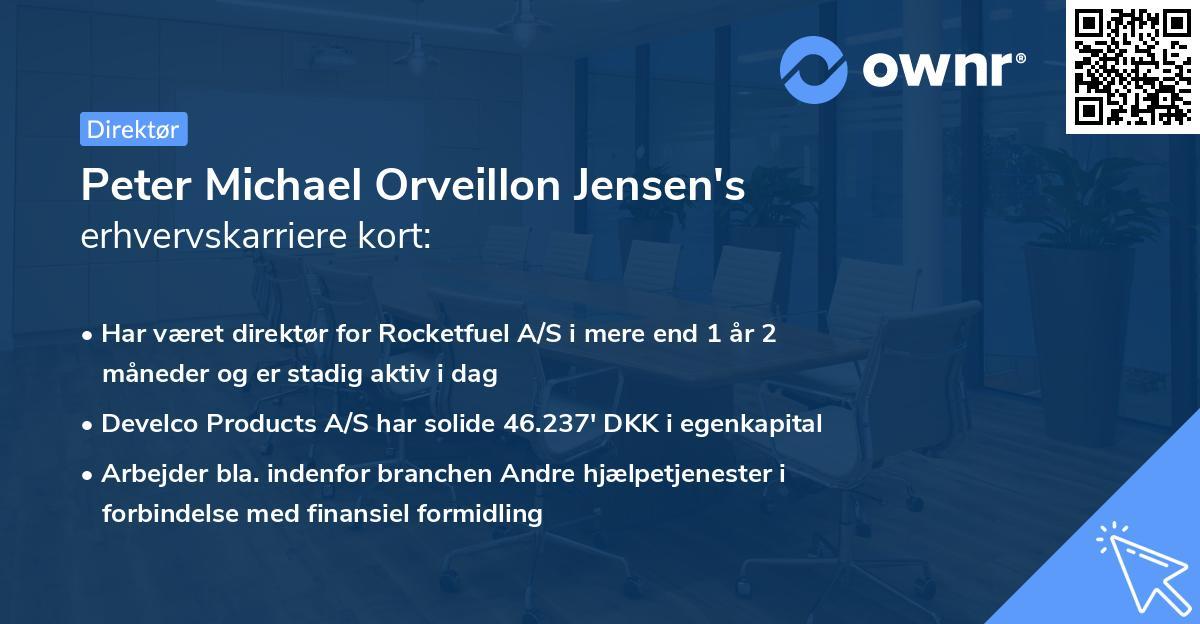 Peter Michael Orveillon Jensen's erhvervskarriere kort