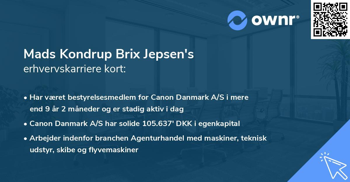 Mads Kondrup Brix Jepsen's erhvervskarriere kort