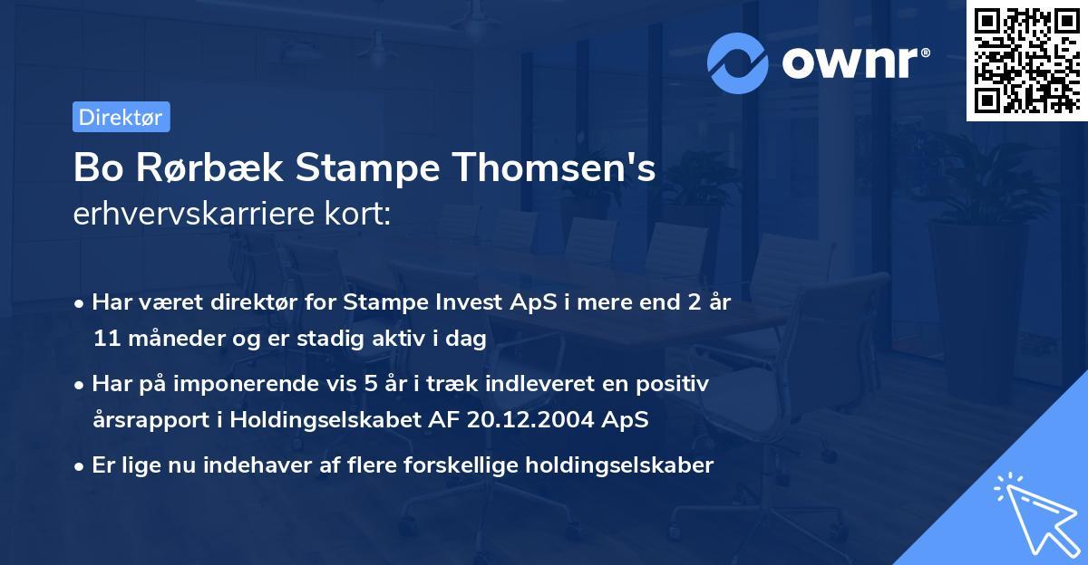 Bo Rørbæk Stampe Thomsen's erhvervskarriere kort