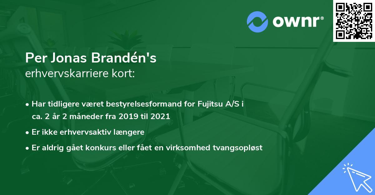 Per Jonas Brandén's erhvervskarriere kort
