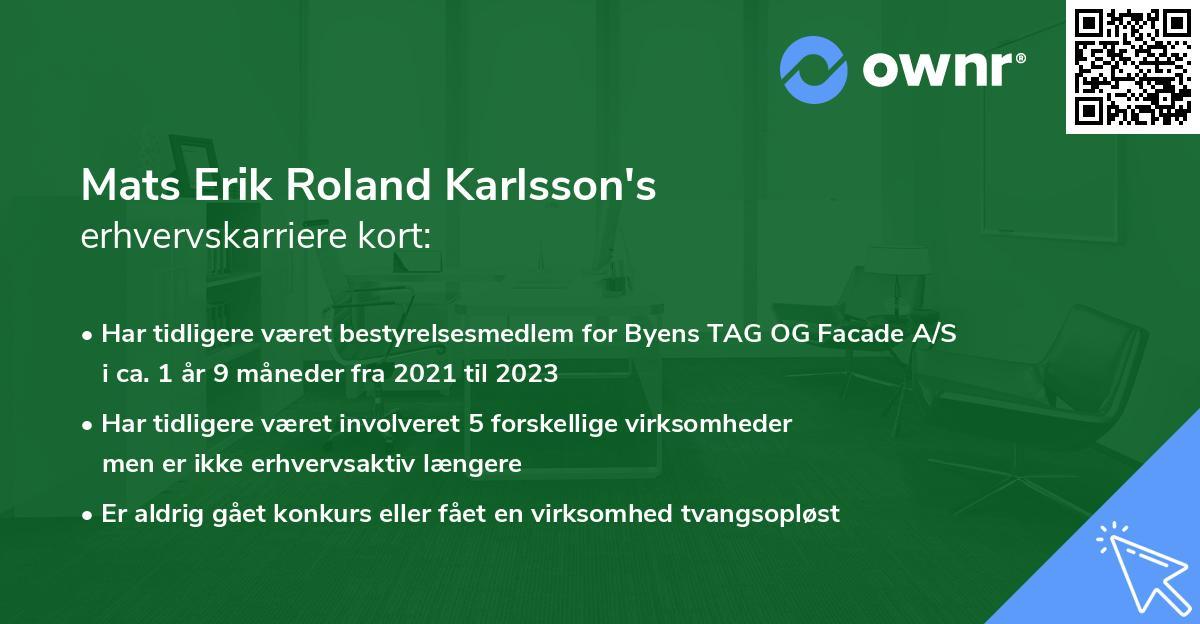 Mats Erik Roland Karlsson's erhvervskarriere kort