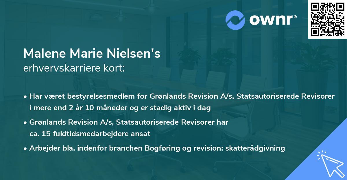 Malene Marie Nielsen's erhvervskarriere kort