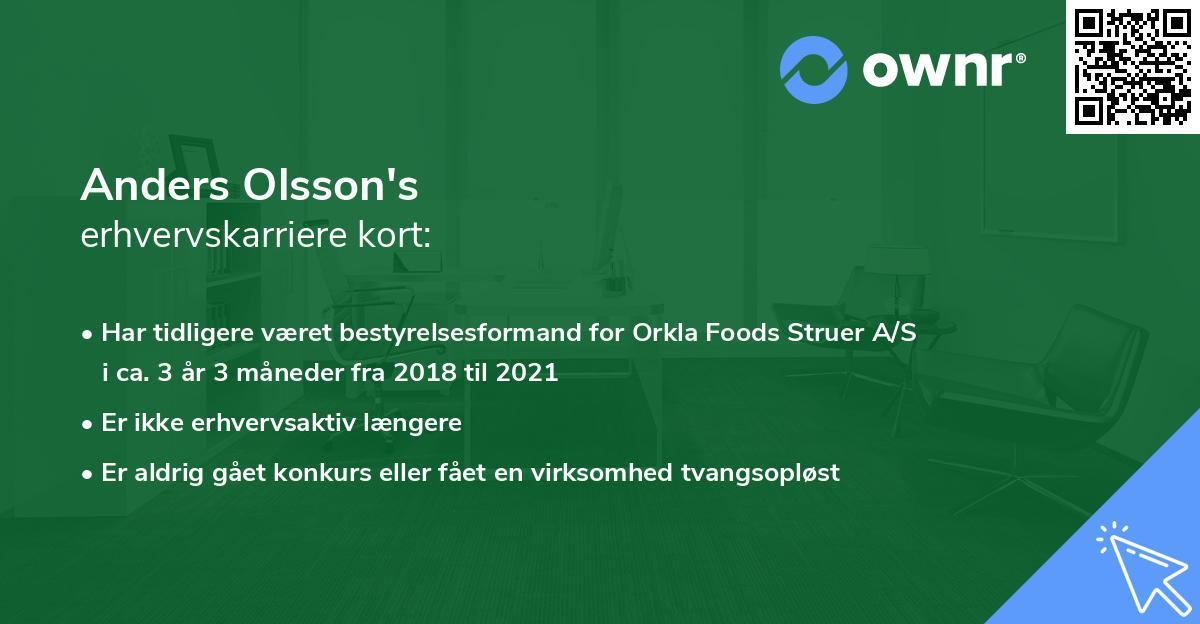 Anders Olsson's erhvervskarriere kort