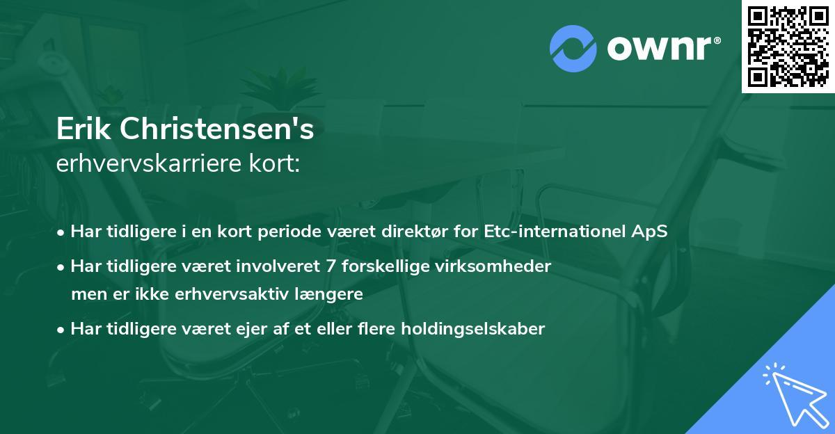 Erik Christensen's erhvervskarriere kort