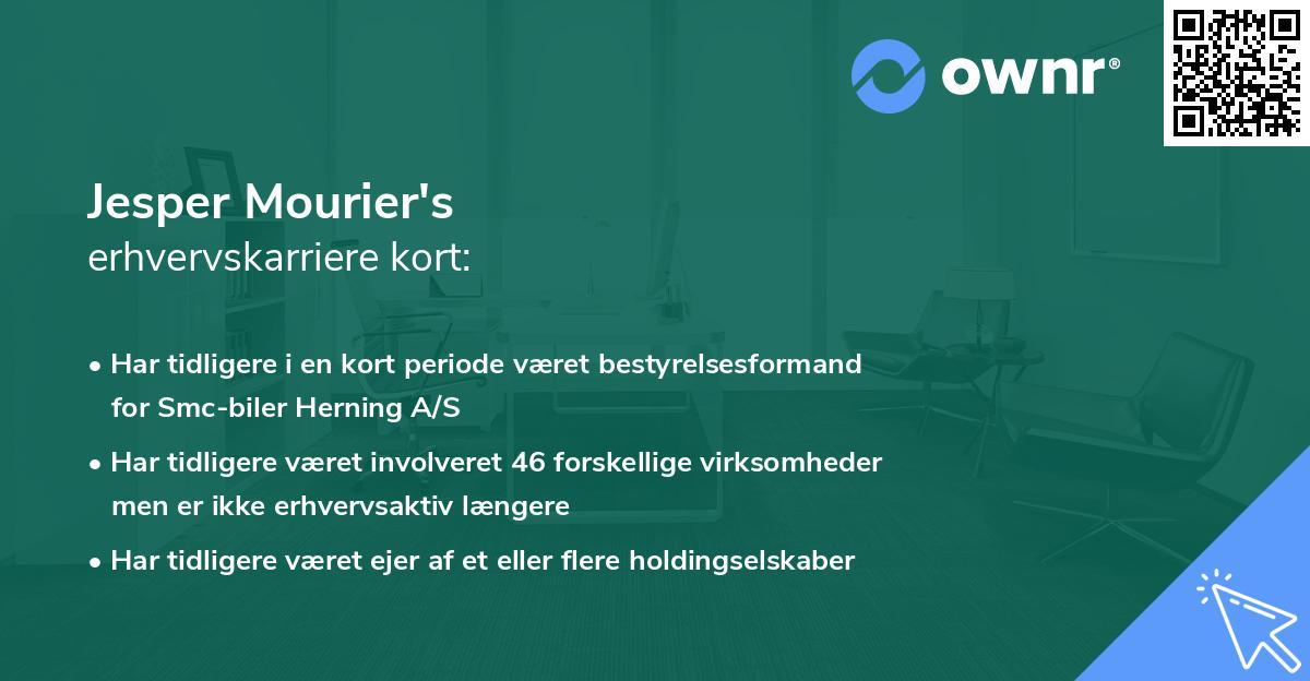 Jesper Mourier's erhvervskarriere kort