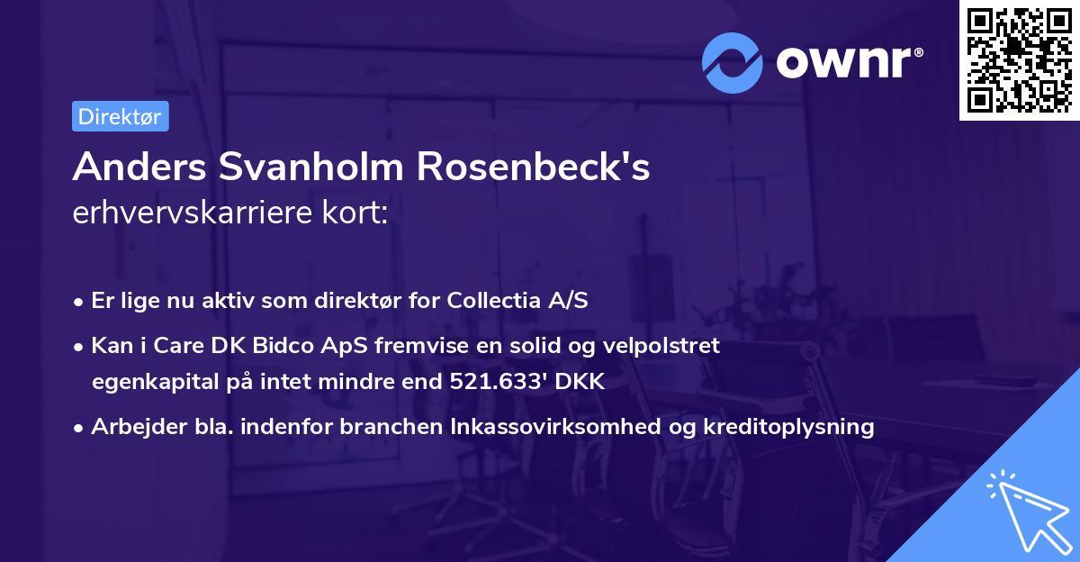 Anders Svanholm Rosenbeck's erhvervskarriere kort