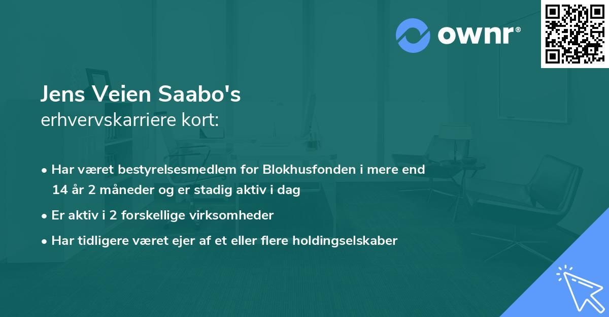 Jens Veien Saabo's erhvervskarriere kort