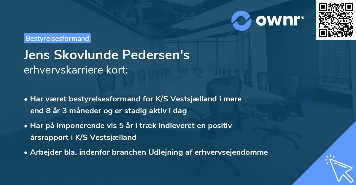 Jens Skovlunde Pedersen's erhvervskarriere kort