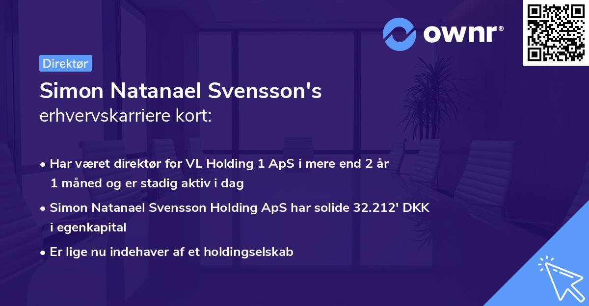 Simon Natanael Svensson's erhvervskarriere kort
