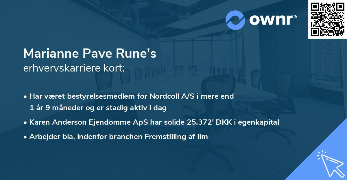 Marianne Pave Rune's erhvervskarriere kort