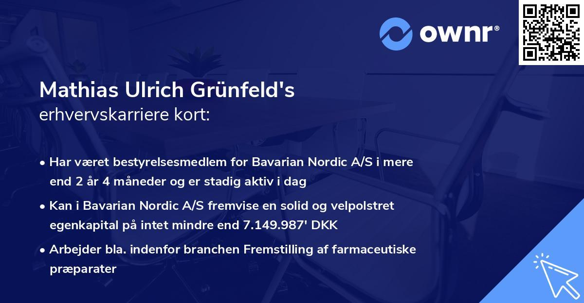 Mathias Ulrich Grünfeld's erhvervskarriere kort