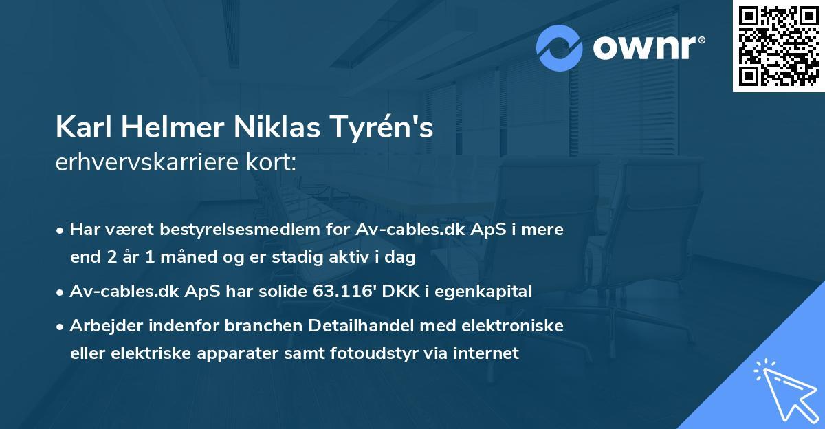 Karl Helmer Niklas Tyrén's erhvervskarriere kort
