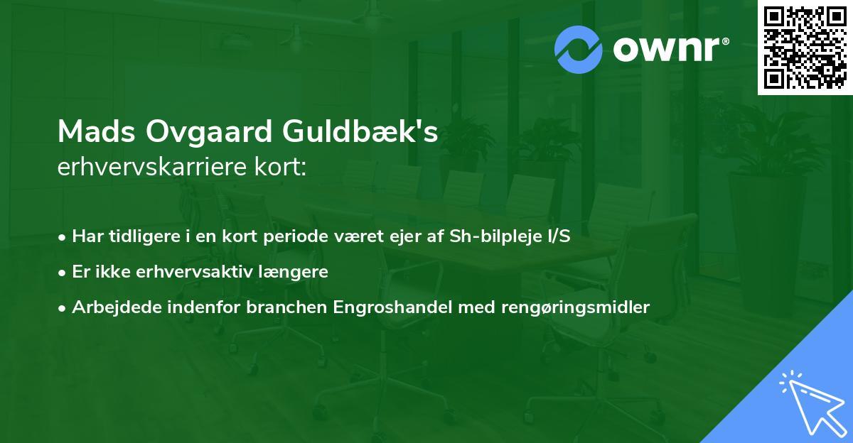 Mads Ovgaard Guldbæk's erhvervskarriere kort