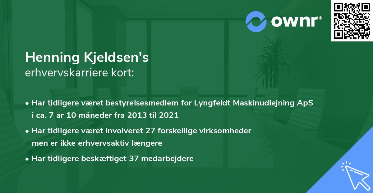 Henning Kjeldsen's erhvervskarriere kort
