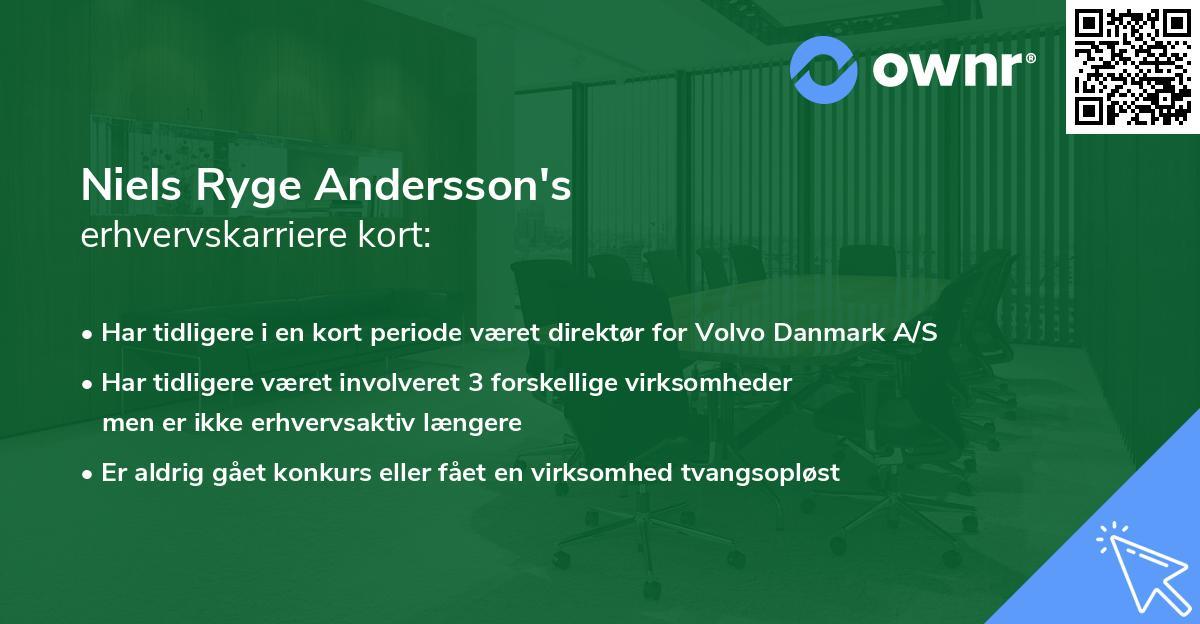 Niels Ryge Andersson's erhvervskarriere kort