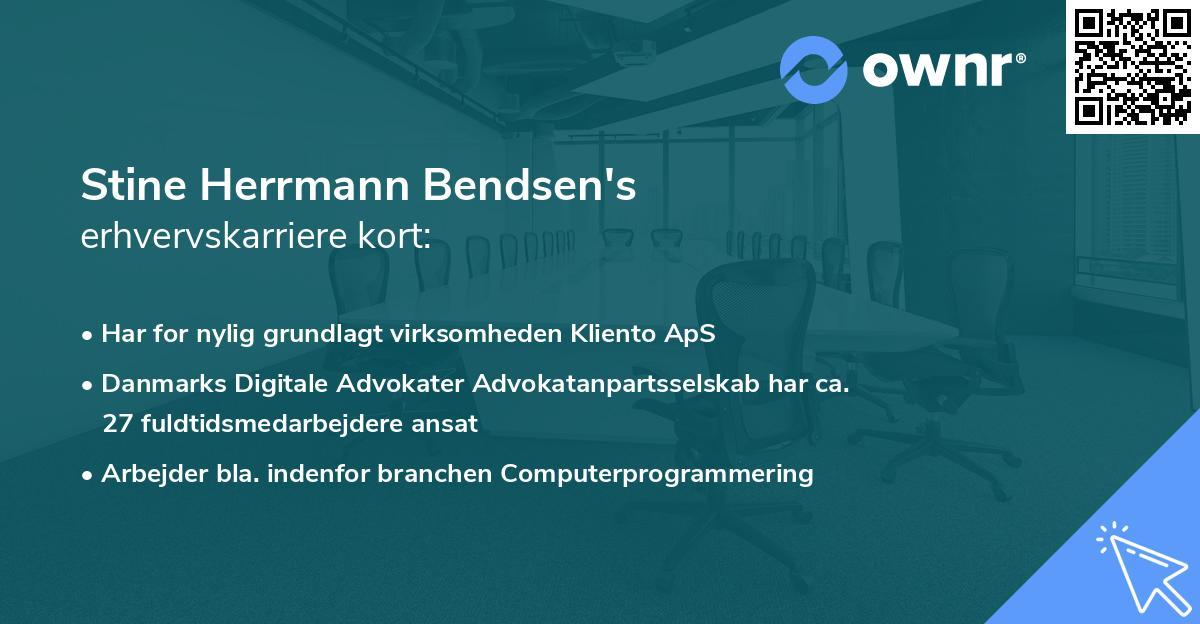 Stine Herrmann Bendsen's erhvervskarriere kort