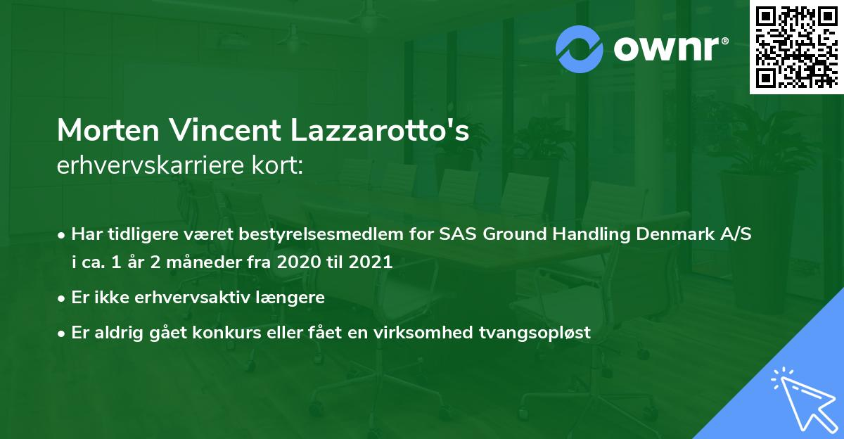 Morten Vincent Lazzarotto's erhvervskarriere kort