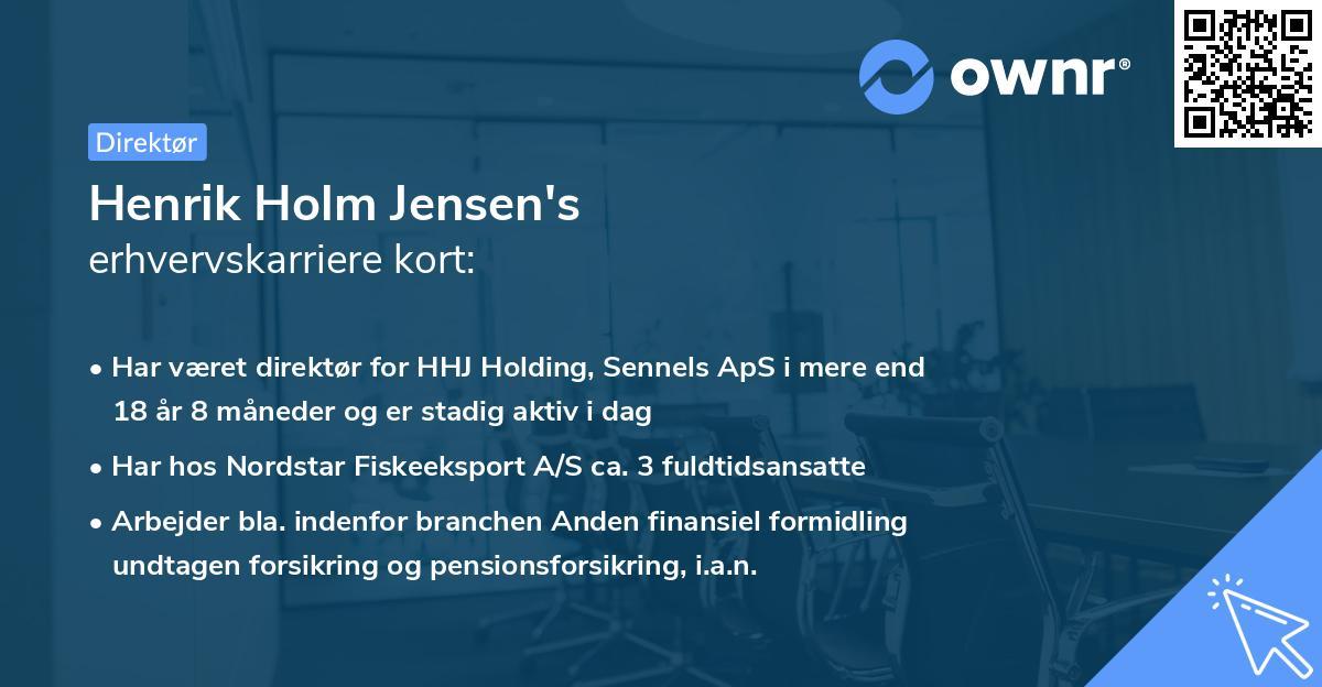 Henrik Holm Jensen's erhvervskarriere kort