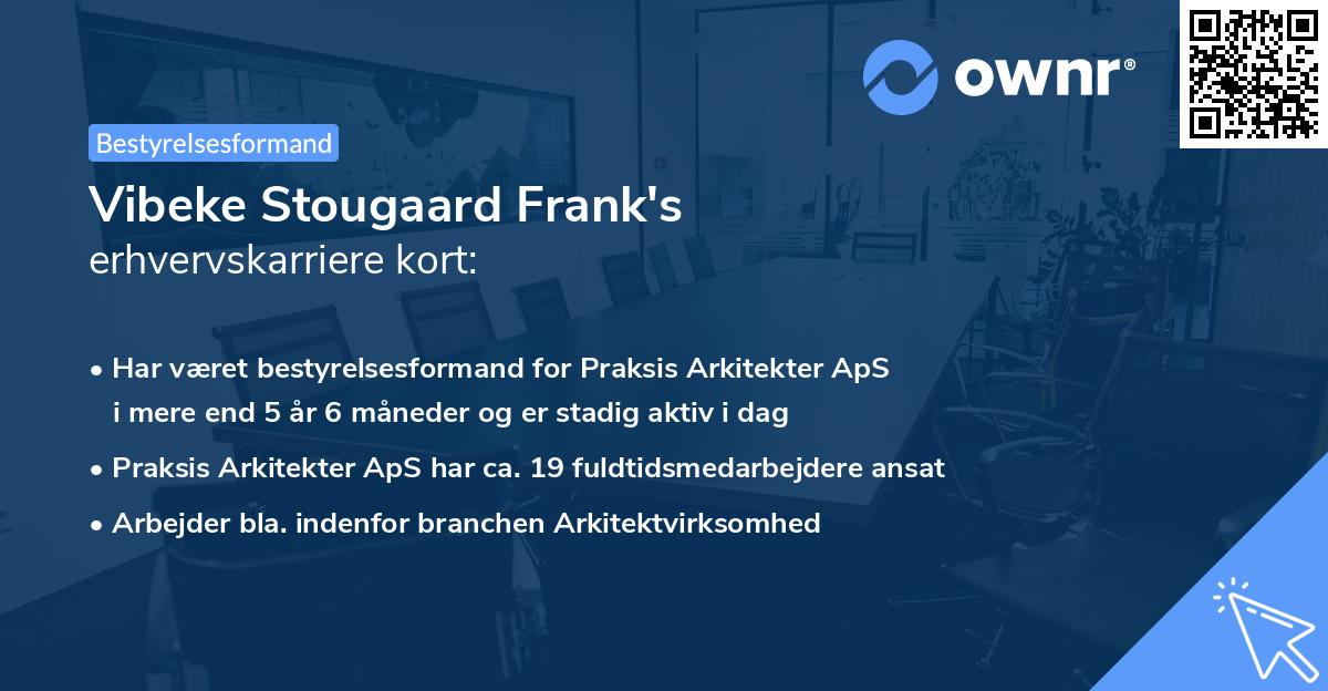 Vibeke Stougaard Frank's erhvervskarriere kort