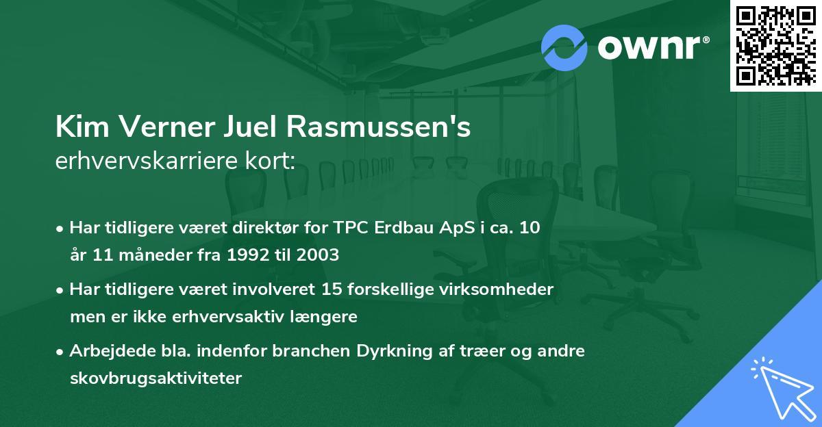 Kim Verner Juel Rasmussen's erhvervskarriere kort