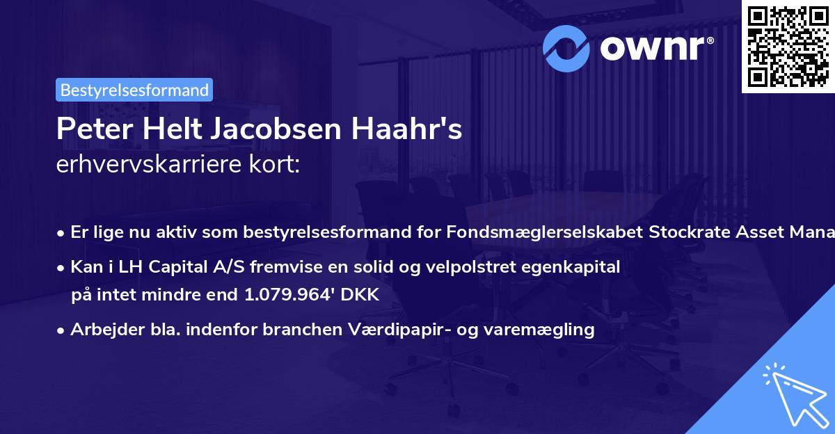 Peter Helt Jacobsen Haahr's erhvervskarriere kort
