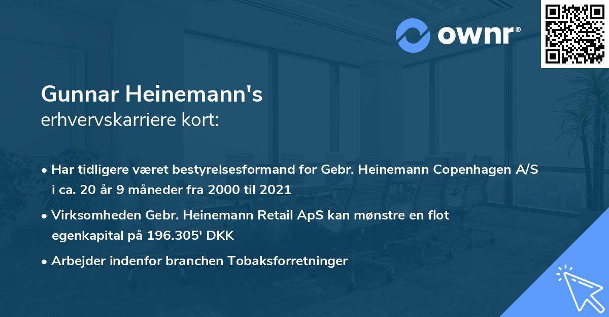 Gunnar Heinemann's erhvervskarriere kort