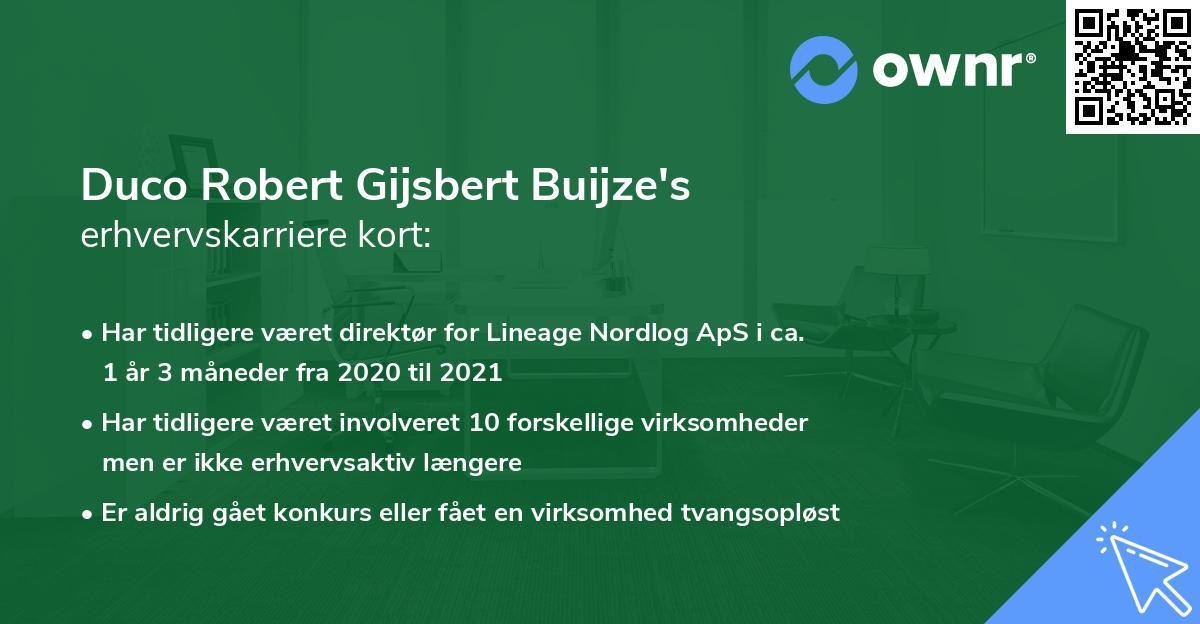 Duco Robert Gijsbert Buijze's erhvervskarriere kort