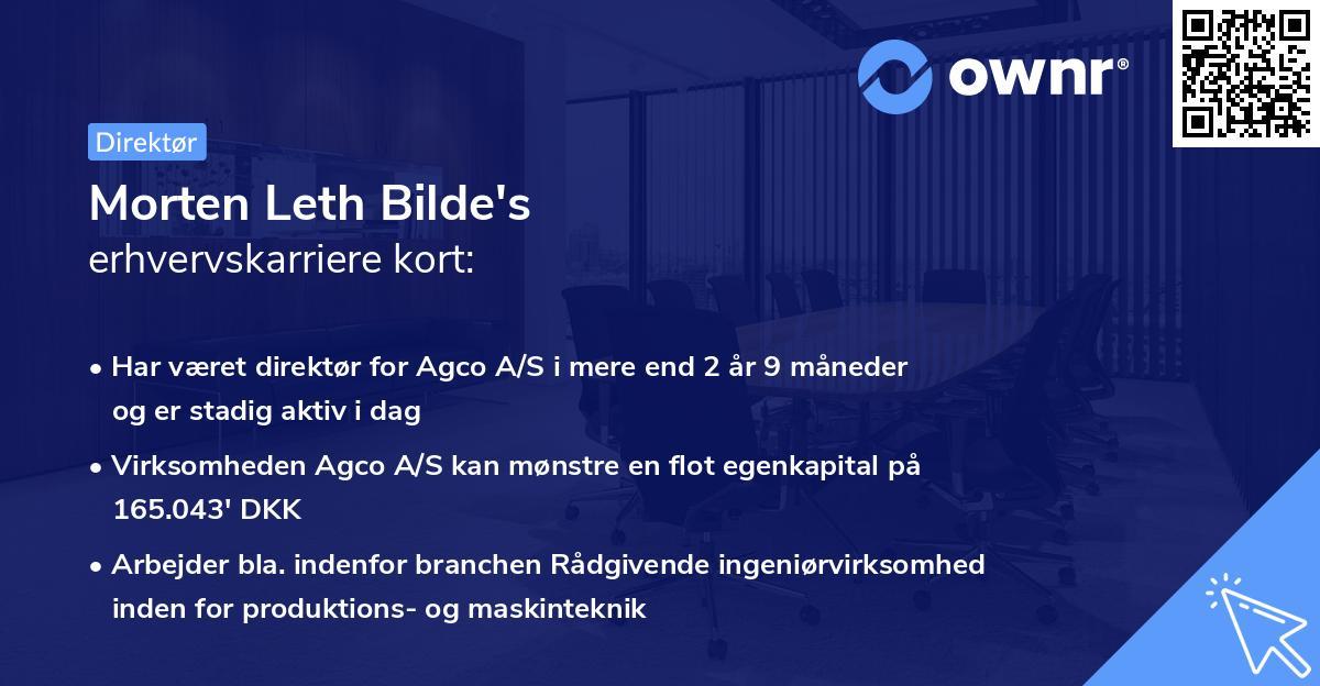 Morten Leth Bilde's erhvervskarriere kort