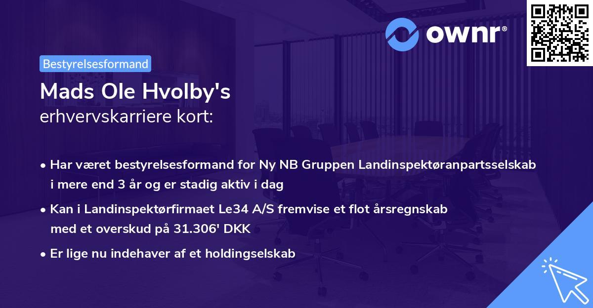 Mads Ole Hvolby's erhvervskarriere kort