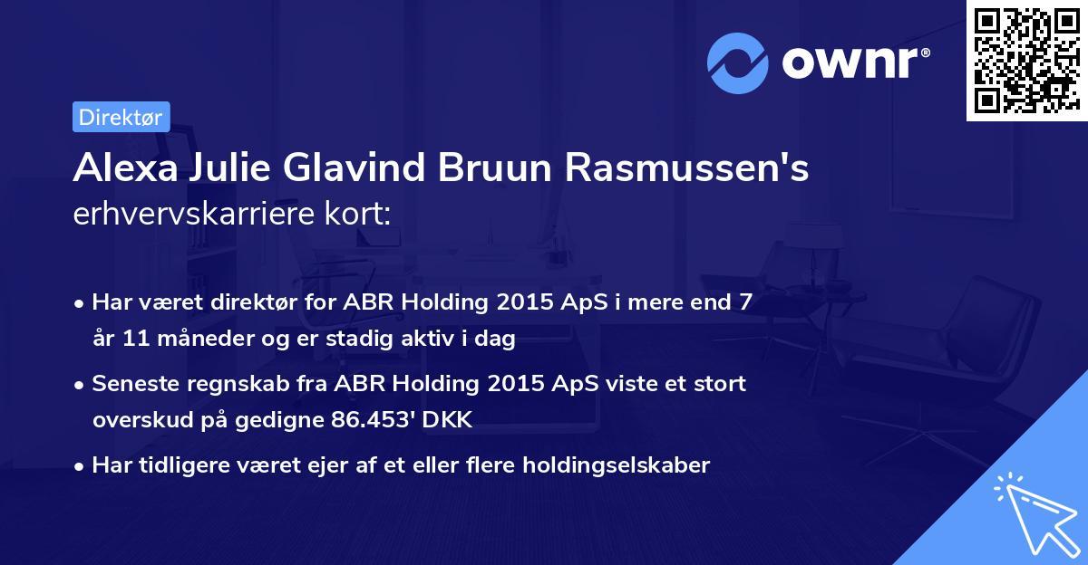 Alexa Julie Glavind Bruun Rasmussen's erhvervskarriere kort