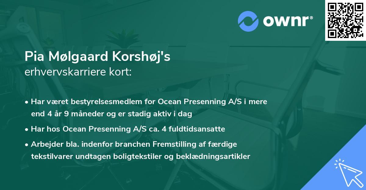 Pia Mølgaard Korshøj's erhvervskarriere kort
