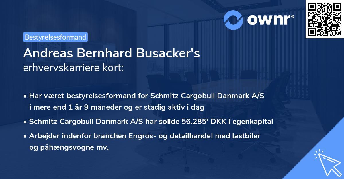 Andreas Bernhard Busacker's erhvervskarriere kort