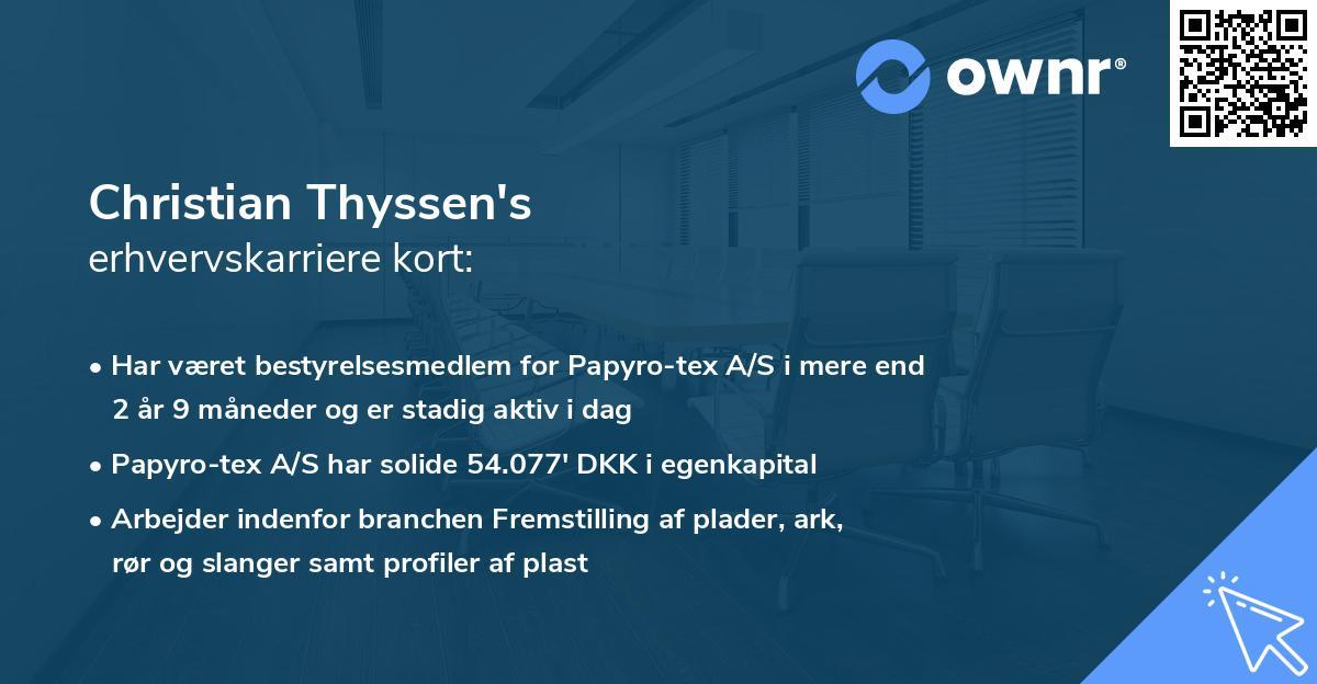 Christian Thyssen's erhvervskarriere kort