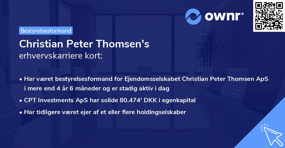 Christian Peter Thomsen's erhvervskarriere kort