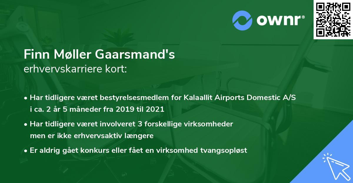 Finn Møller Gaarsmand's erhvervskarriere kort