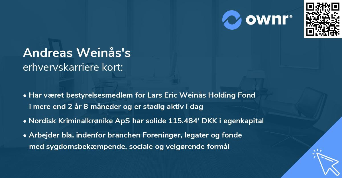 Andreas Weinås's erhvervskarriere kort