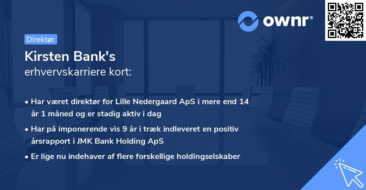 Kirsten Bank's erhvervskarriere kort
