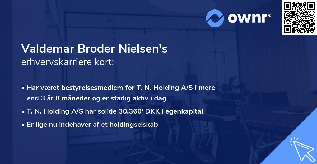 Valdemar Broder Nielsen's erhvervskarriere kort