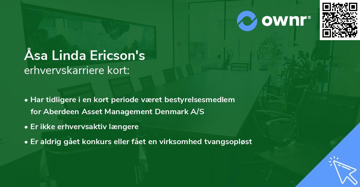 Åsa Linda Ericson's erhvervskarriere kort