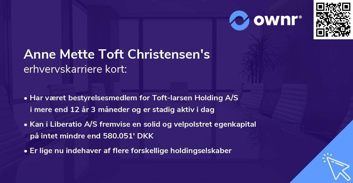 Anne Mette Toft Christensen's erhvervskarriere kort