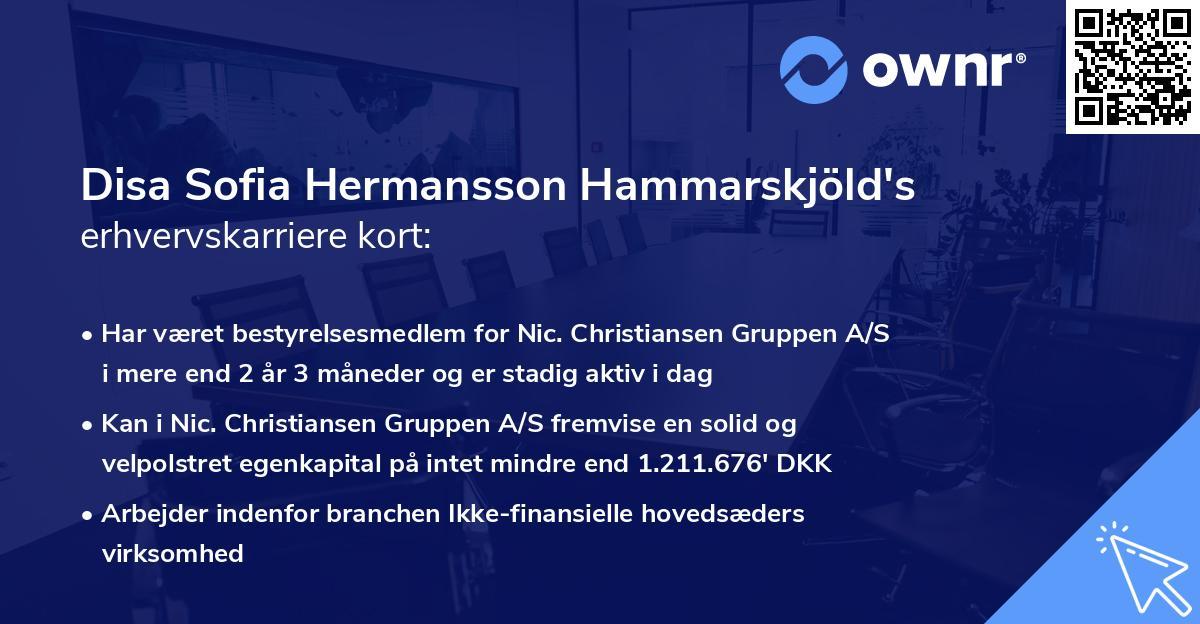 Disa Sofia Hermansson Hammarskjöld's erhvervskarriere kort