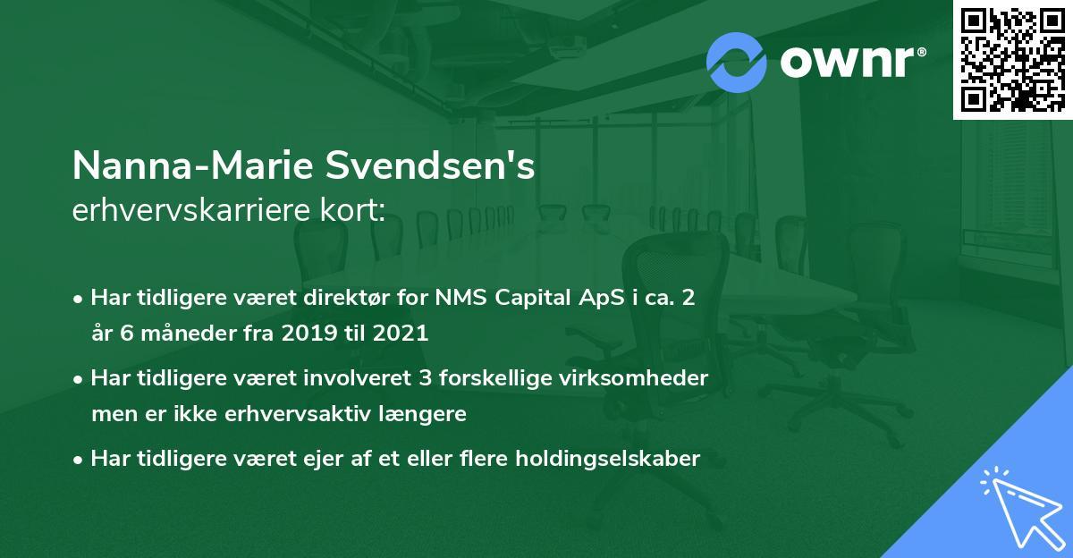 Nanna-Marie Svendsen's erhvervskarriere kort